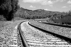 Train tracks in Estacion de Archidona, Spain Royalty Free Stock Image