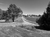 Train tracks. Farm black and royalty free stock image