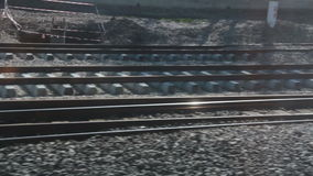 Train tracks, fast train window view, 2016 stock footage