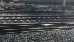 Train tracks, fast train window view, 2016. Turkey ankara city from konya tranport fast train stock footage
