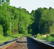 Train Tracks And Forest Artwork stock photography