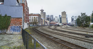 Train tracks at Gastown district in Vancouver - VANCOUVER - CANADA - APRIL 12, 2017 Stock Photos