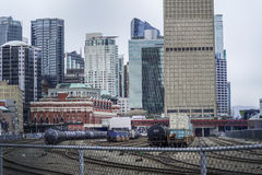 Train tracks at Gastown district in Vancouver - VANCOUVER - CANADA - APRIL 12, 2017 Royalty Free Stock Photo