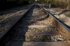 Train Tracks Going off into the Distance Stock Photography