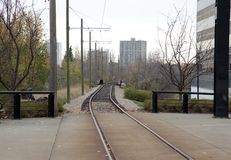 Railway tracks heading downtown. Train tracks heading downtown on Edmonton`s west side Royalty Free Stock Image