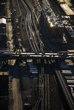 Train tracks and highway. Aerial view of highway overpass and railroad tracks in Chicago, Illinois Stock Photo