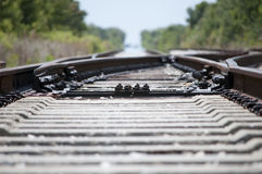 Train tracks in hot day. Train tracks photo up close on a hot day Royalty Free Stock Image