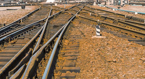 Train tracks at the  Kharkiv  Passenger Railway Station, Ukraine Royalty Free Stock Image