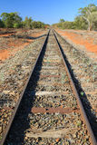 Train tracks leading into the distance. Old train tracks in the australian outback leading into the distant horizon Stock Image