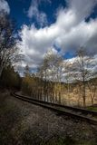 Train tracks leading through the forest and storm clouds. In spring stock photos