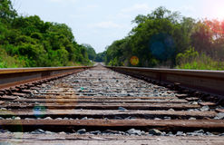 Train tracks leading off into the distance Stock Image