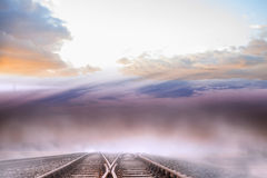 Train tracks leading to horizon Stock Photos