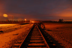 Train Tracks Leading to the Point of No Return Royalty Free Stock Image