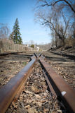 Train tracks merge. A section of train tracks that merge together Royalty Free Stock Photo