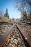 Train tracks merge Royalty Free Stock Photo