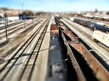 Train, Tracks and Miniature Effect Royalty Free Stock Photo