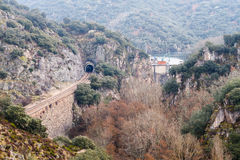 Train tracks and Montearenas Reservoir Dam. Path of the stonecutters, The Bierzo. Stock Photos