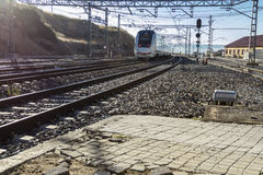 Train tracks near the station. They are approaching train on the tracks to the station of the city Stock Images