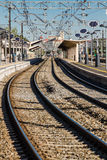 Train tracks near the station. They are approaching train on the tracks to the station of the city Stock Photos