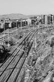Train tracks near the station. They are approaching train on the tracks to the station of the city Stock Image