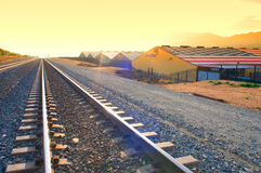 Train Tracks nearThe Rowdy Rose. Banning,California/USA-February 28th 2016:[Train tracks nearthe Rowdy Rose Western Lifestyle Barn Royalty Free Stock Photos