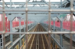 Train Tracks on a New York City Bridge Royalty Free Stock Image