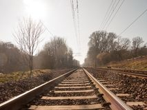 Train tracks outside no train way transport line country. Essex; england; uk royalty free stock image