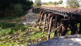 Train tracks over a Creek Royalty Free Stock Photo