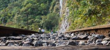 Train tracks in Peru. Close up stock photo