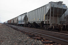Train Tracks and Rail cars. In Grand Rapids Michigan stock photography