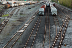 Train Tracks and Rail cars Royalty Free Stock Images