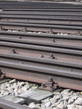 Train tracks in rail yard. Closeup of a series of train tracks in a large freight or rail yard stock photo
