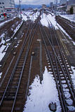 Train tracks railroad. Crossed train tracks in snow near Takayama city, Japan Royalty Free Stock Photo
