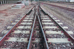 Train Tracks,Railroad tracks. Railway freight rails road train diesel transportation cargo station locomotive industry industrial tracks Stock Photography