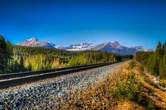 Train Tracks. Railway line running through Banff National Park Alberta Canada Stock Image