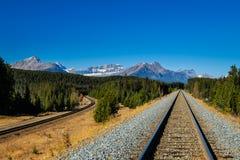 Train Tracks. Railway line running through Banff National Park Alberta Canada Stock Photos