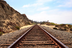 Train tracks run through San Clemente State Beach Royalty Free Stock Image