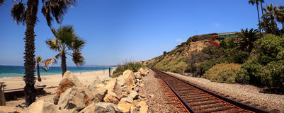 Train tracks run through San Clemente State Beach Royalty Free Stock Images
