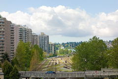 Train tracks running across Vancouver's waterfront in british columbia Stock Photos