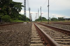 Train tracks running into the distance Royalty Free Stock Images