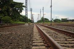 Train tracks running into the distance. Train tracks running into distance Royalty Free Stock Images