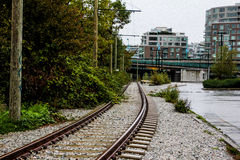 Train tracks running throughout Vancouver, BC. Stock Images