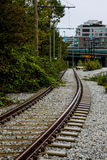 Train tracks running throughout Vancouver, BC. Royalty Free Stock Photos