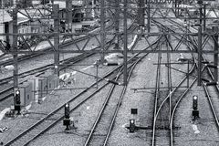 Train Tracks, Signals and Power Lines Stock Photo