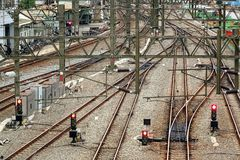 Train Tracks, Signals and Power Lines Stock Images