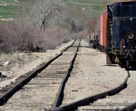 Train on the tracks. Royalty Free Stock Image