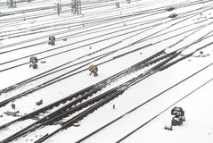 Train Tracks in the Snow Stock Photography