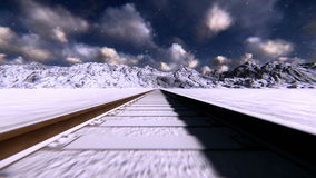Train tracks on snow footage stock video footage