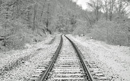 Train tracks in the snow Stock Photos