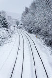 Train Tracks In The Snow Royalty Free Stock Photos